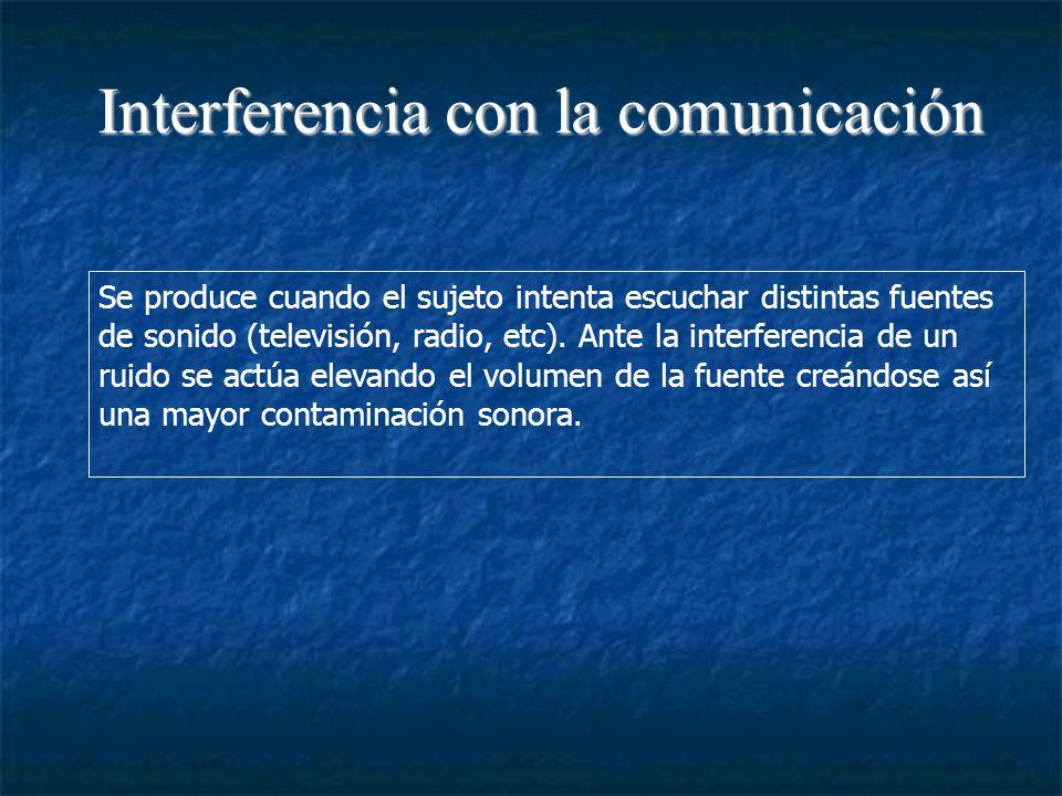 Interferencia con la comunicación Se produce cuando el sujeto intenta escuchar distintas fuentes de sonido (televisión, radio, etc).