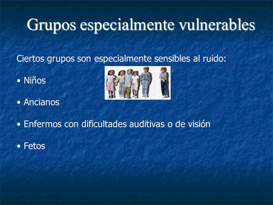 Grupos especialmente vulnerables Ciertos grupos son especialmente sensibles al ruido: Niños Ancianos Enfermos con dificultades auditivas o de visión Fetos