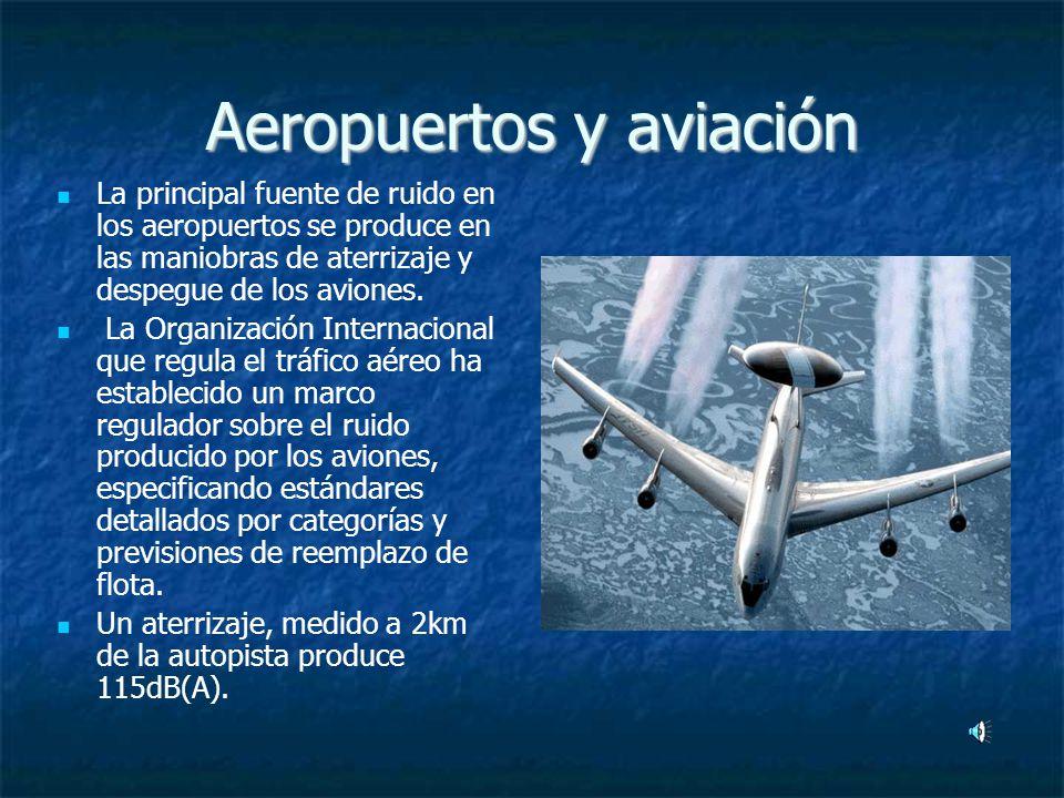Aeropuertos y aviación La principal fuente de ruido en los aeropuertos se produce en las maniobras de aterrizaje y despegue de los aviones.