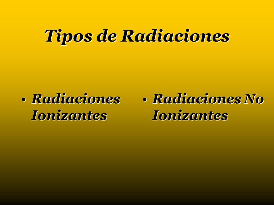 Tipos de Radiaciones Radiaciones IonizantesRadiaciones Ionizantes Radiaciones No IonizantesRadiaciones No Ionizantes