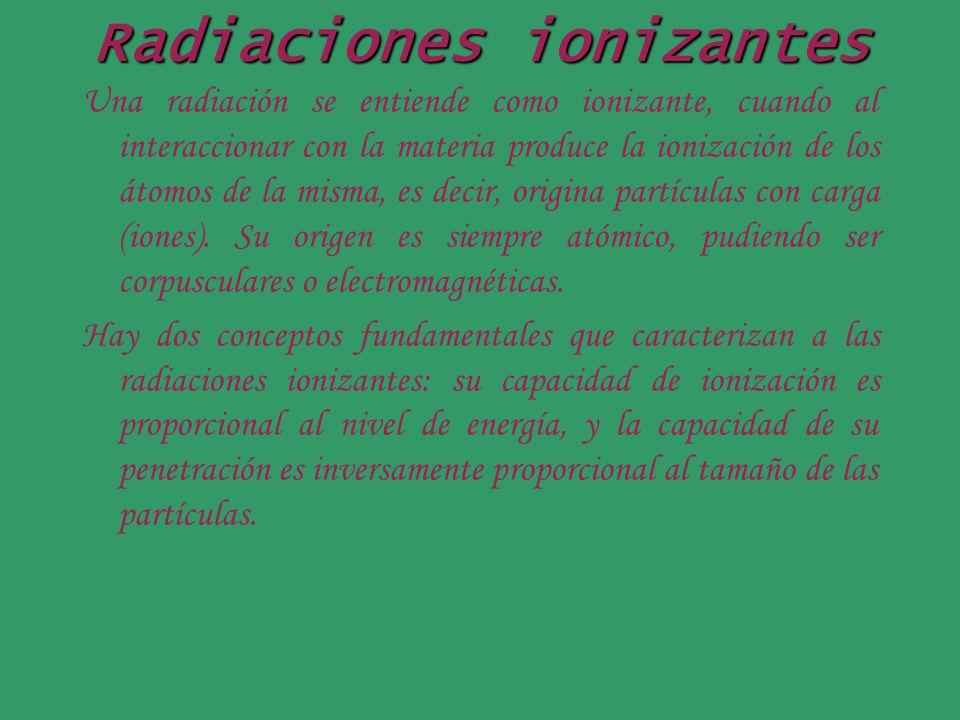 Radiaciones ionizantes Una radiación se entiende como ionizante, cuando al interaccionar con la materia produce la ionización de los átomos de la mism