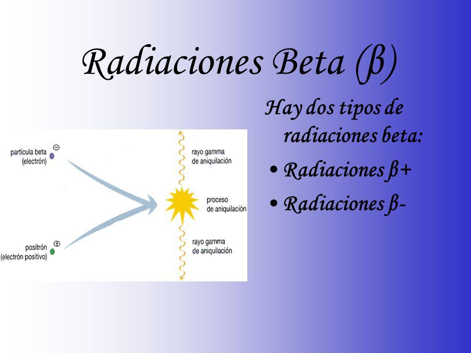 Radiaciones Beta (β) Hay dos tipos de radiaciones beta: Radiaciones β+ Radiaciones β-