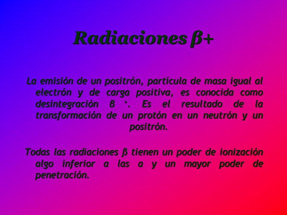 Radiaciones β+ La emisión de un positrón, partícula de masa igual al electrón y de carga positiva, es conocida como desintegración β +. Es el resultad