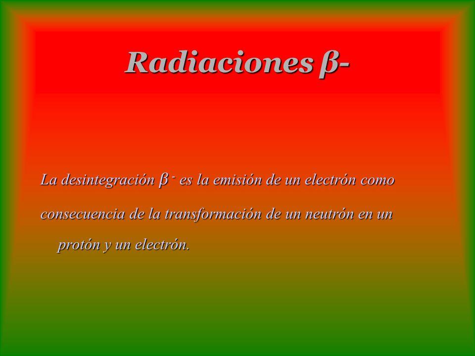 Radiaciones β- La desintegración β - es la emisión de un electrón como consecuencia de la transformación de un neutrón en un protón y un electrón.