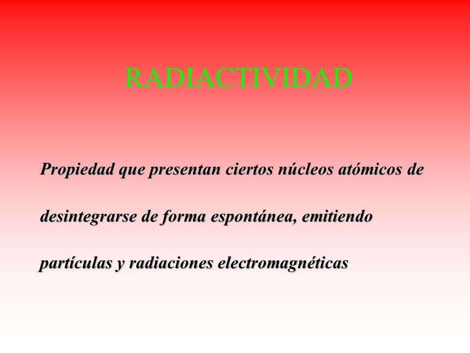 RADIACTIVIDAD Propiedad que presentan ciertos núcleos atómicos de desintegrarse de forma espontánea, emitiendo partículas y radiaciones electromagnéti