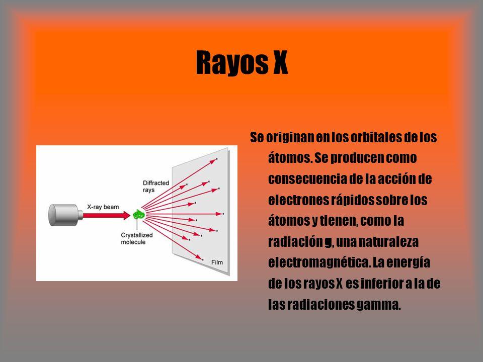 Rayos X Se originan en los orbitales de los átomos. Se producen como consecuencia de la acción de electrones rápidos sobre los átomos y tienen, como l