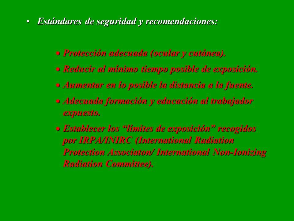 Estándares de seguridad y recomendaciones:Estándares de seguridad y recomendaciones: Protección adecuada (ocular y cutánea). Protección adecuada (ocul