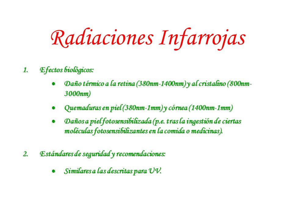 Radiaciones Infarrojas 1.Efectos biológicos: Daño térmico a la retina (380nm-1400nm) y al cristalino (800nm- 3000nm) Daño térmico a la retina (380nm-1