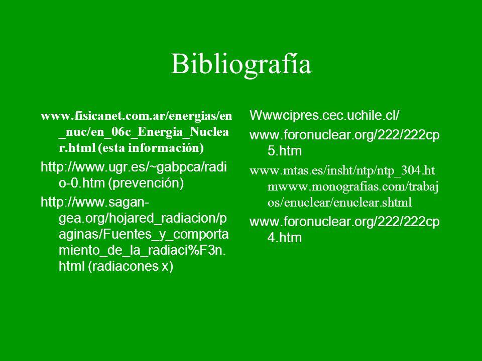 Bibliografía www.fisicanet.com.ar/energias/en _nuc/en_06c_Energia_Nuclea r.html (esta información) http://www.ugr.es/~gabpca/radi o-0.htm (prevención)