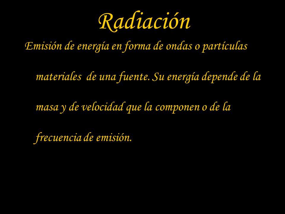 Radiación Emisión de energía en forma de ondas o partículas materiales de una fuente. Su energía depende de la masa y de velocidad que la componen o d