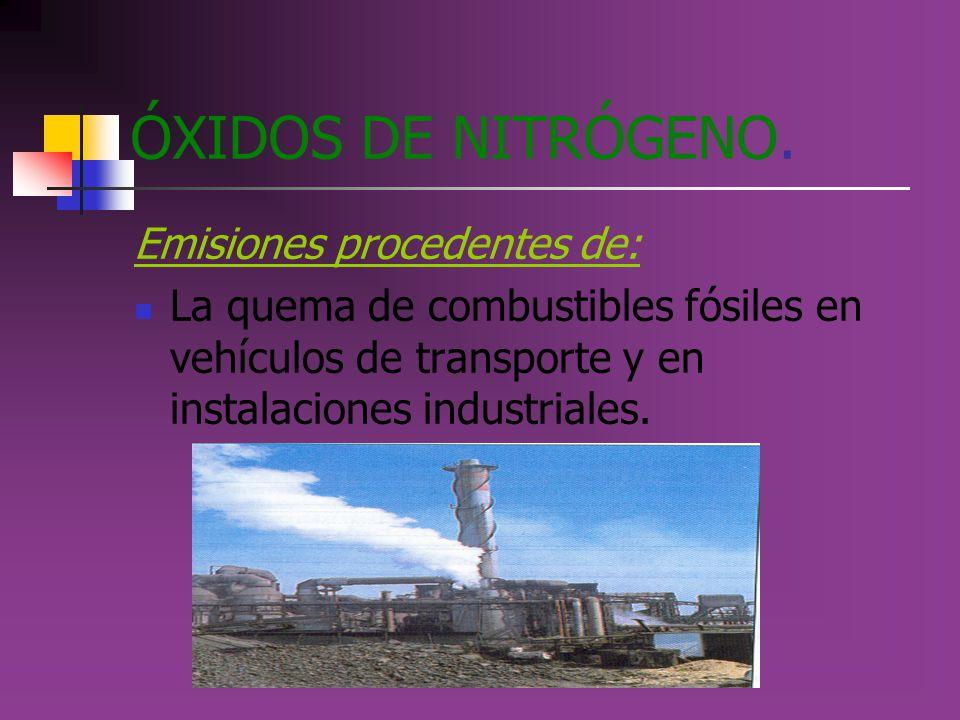 ÓXIDOS DE NITRÓGENO. Emisiones procedentes de: La quema de combustibles fósiles en vehículos de transporte y en instalaciones industriales.