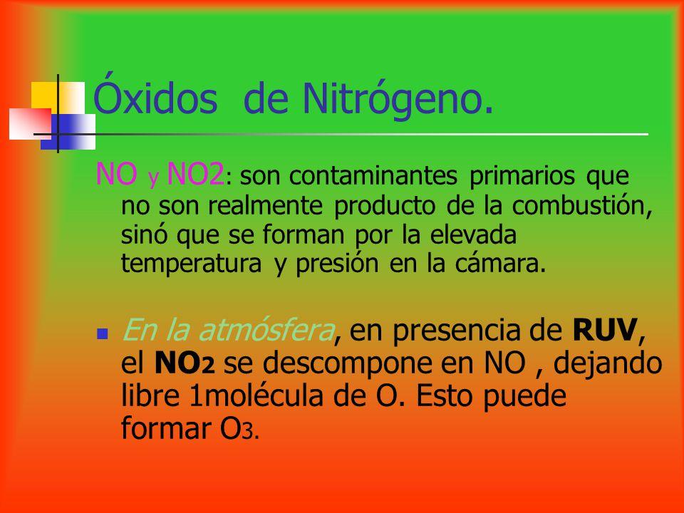 Óxidos de Nitrógeno. NO y NO2 : son contaminantes primarios que no son realmente producto de la combustión, sinó que se forman por la elevada temperat