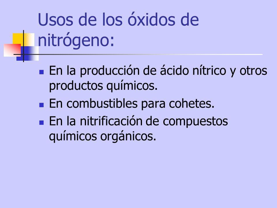 Usos de los óxidos de nitrógeno: En la producción de ácido nítrico y otros productos químicos. En combustibles para cohetes. En la nitrificación de co