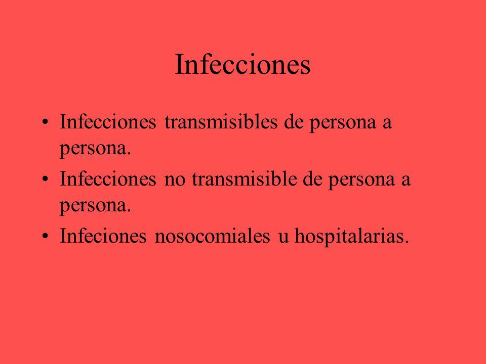 Infeciones transmisibles de persona a persona.