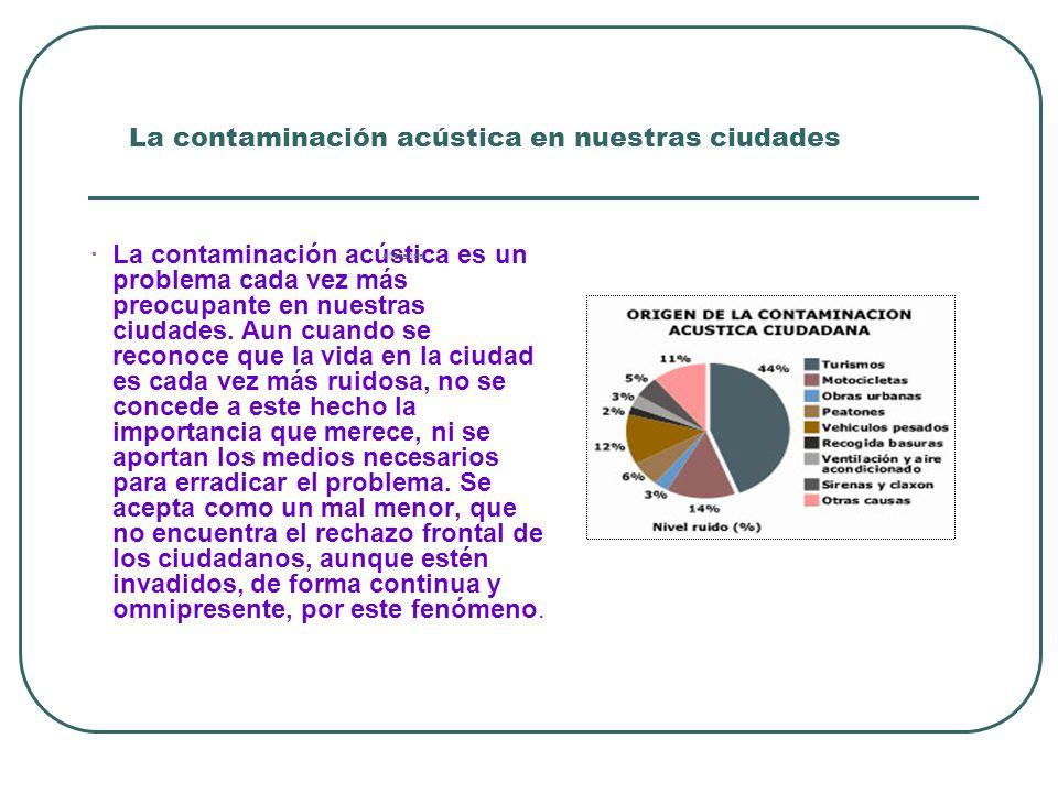 La contaminación acústica en nuestras ciudades · La contaminación acústica es un problema cada vez más preocupante en nuestras ciudades.