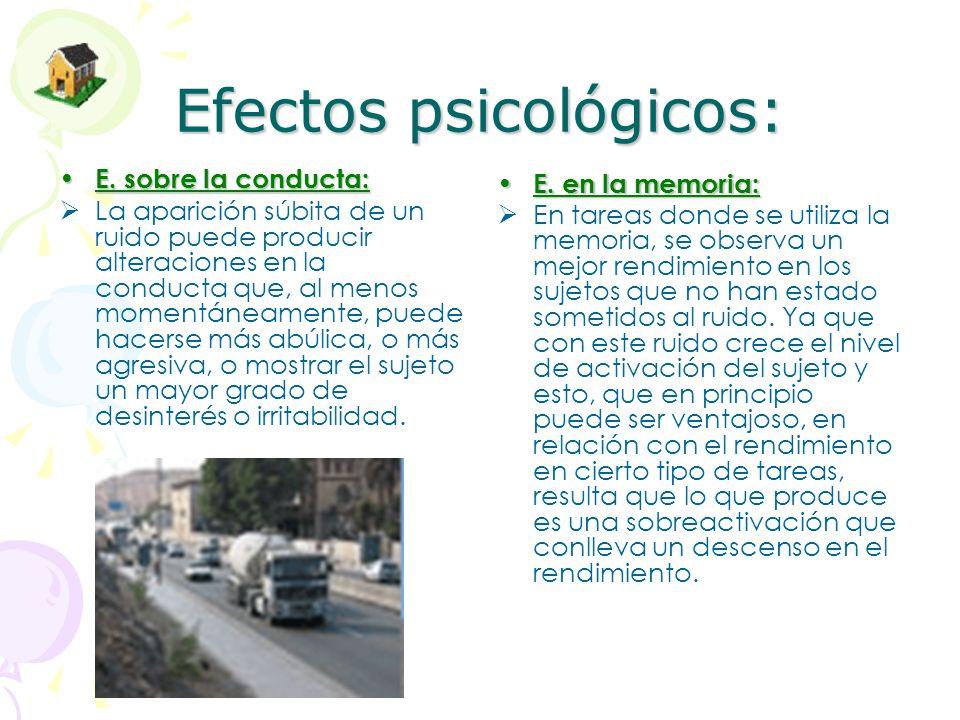 Efectos psicológicos: Efectos sobre el sueño: El ruido influye negativamente sobre el sueño de tres formas diferentes que se dan, en mayor o menor grado según peculiaridades individuales, a partir de los 30 decibelios: Mediante la dificultad o imposibilidad de dormirse.