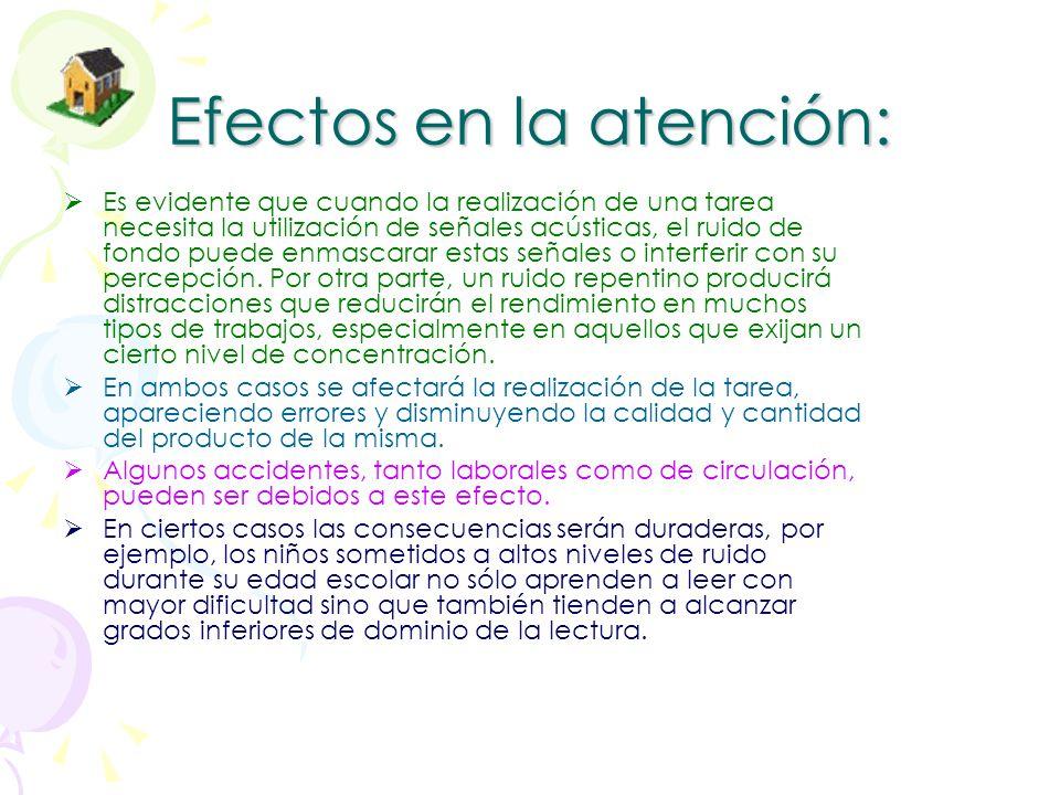 E. sobre la conducta: La aparición súbita de un ruido puede producir alteraciones en la conducta que, al menos momentáneamente, puede hacerse más abúl