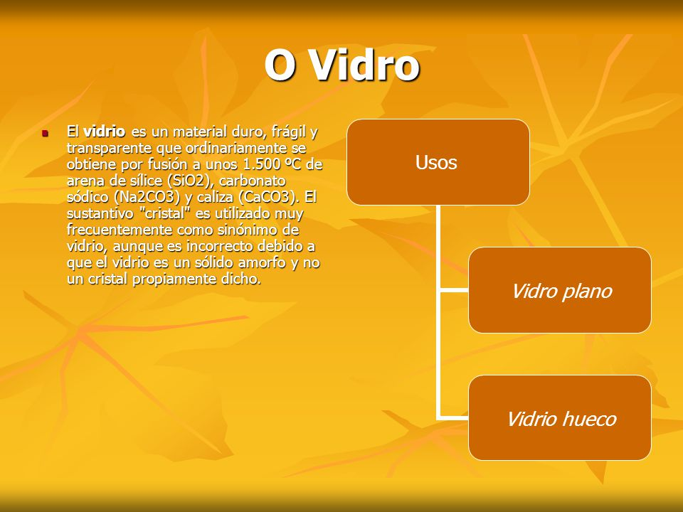 V idro plano: V idro plano: -Vidrios de acristalamiento en construccions -Vidrios para acristalamiento de vehículos -Vidrio decorativo (mesas, espellos, etc.).