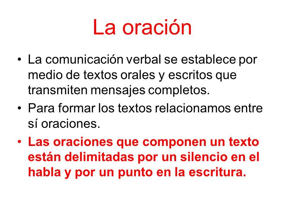 La oración La comunicación verbal se establece por medio de textos orales y escritos que transmiten mensajes completos. Para formar los textos relacio