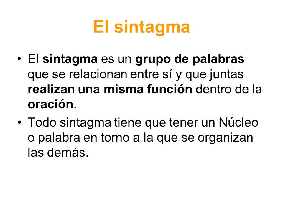 El sintagma El sintagma es un grupo de palabras que se relacionan entre sí y que juntas realizan una misma función dentro de la oración. Todo sintagma