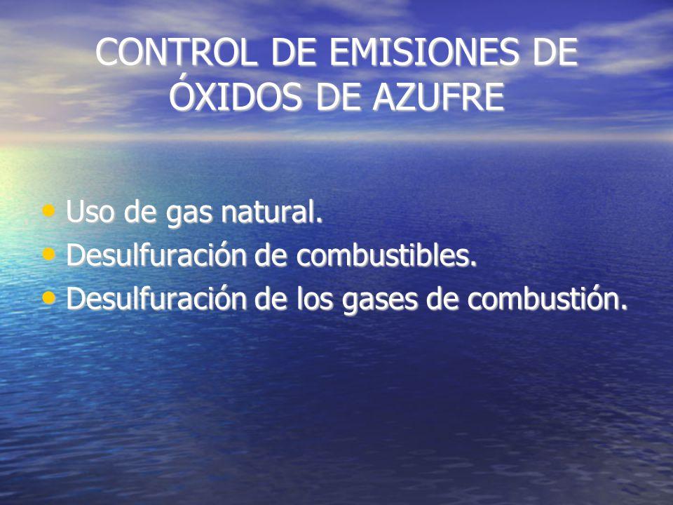 ELIMINACIÓN DE ÓXIDOS DE AZUFRE Mediante conversión a ácido sulfúrico y sulfatos.