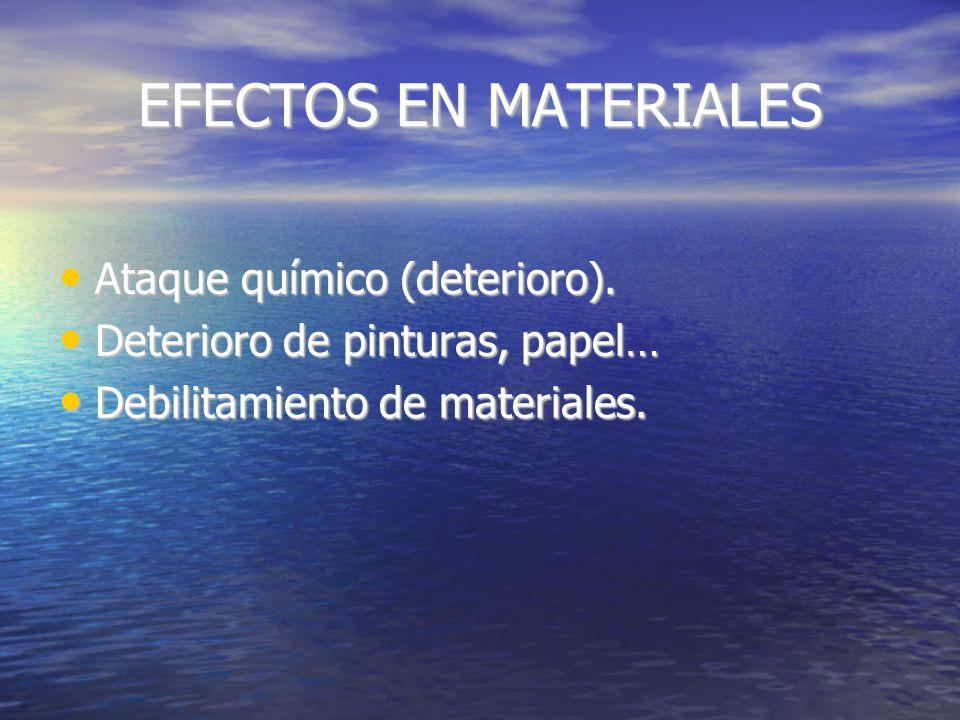EFECTOS EN PLANTAS Dependen del tiempo de exposición y de una serie de características (humedad, Temperatura, luz…).