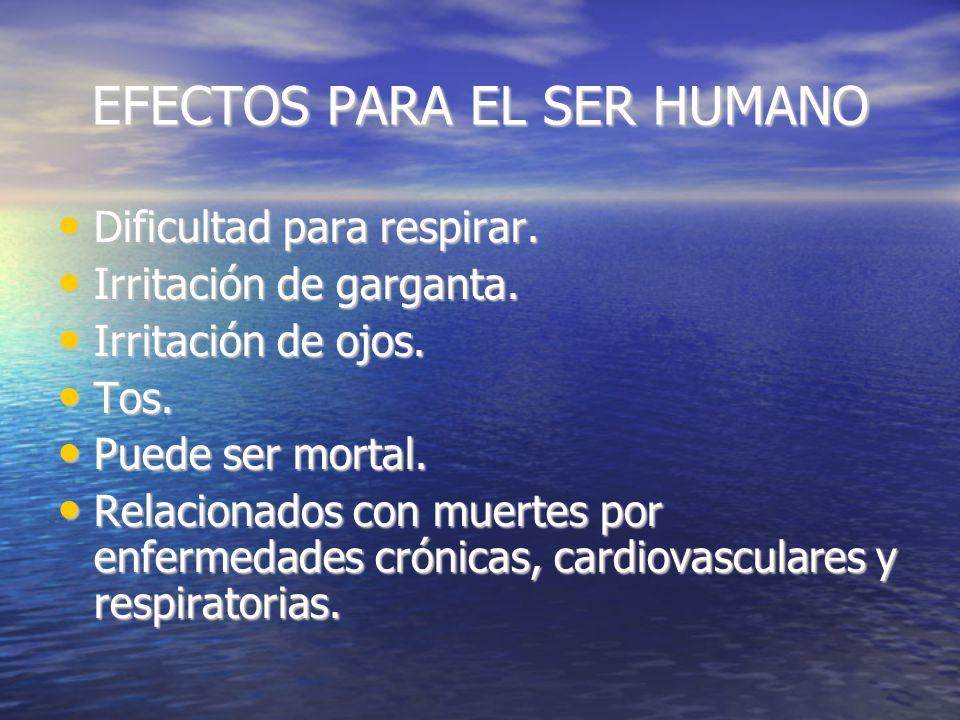 EFECTOS PARA EL SER HUMANO Dificultad para respirar.