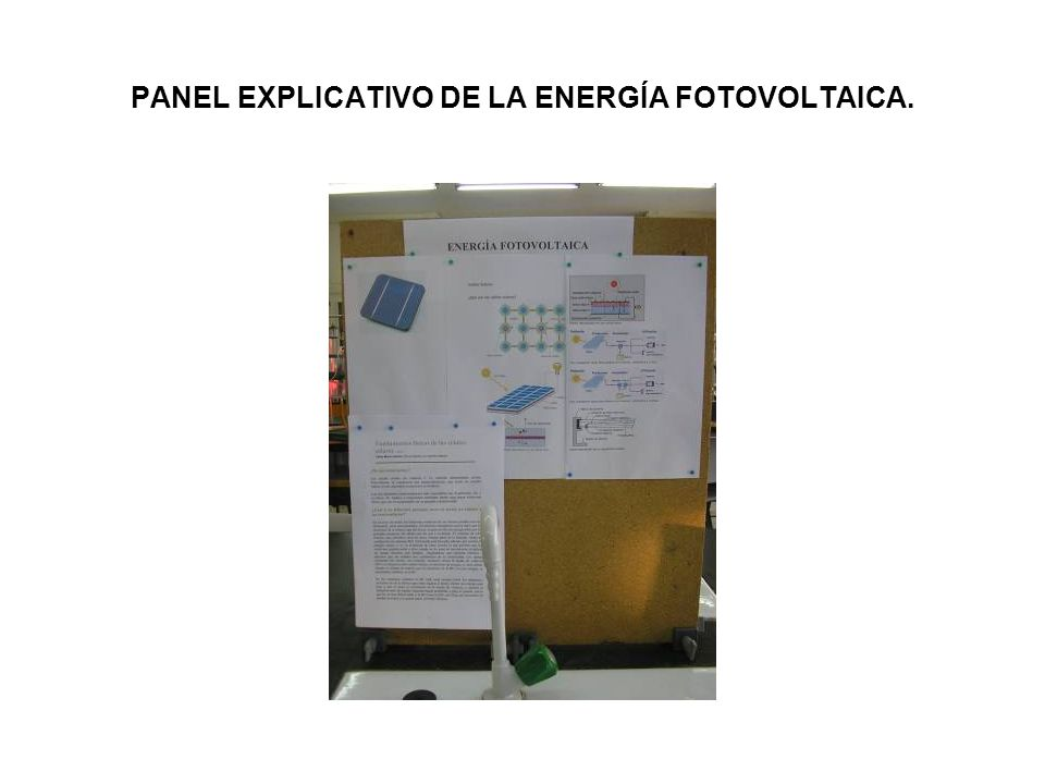 PANEL EXPLICATIVO DE LA ENERGÍA FOTOVOLTAICA.