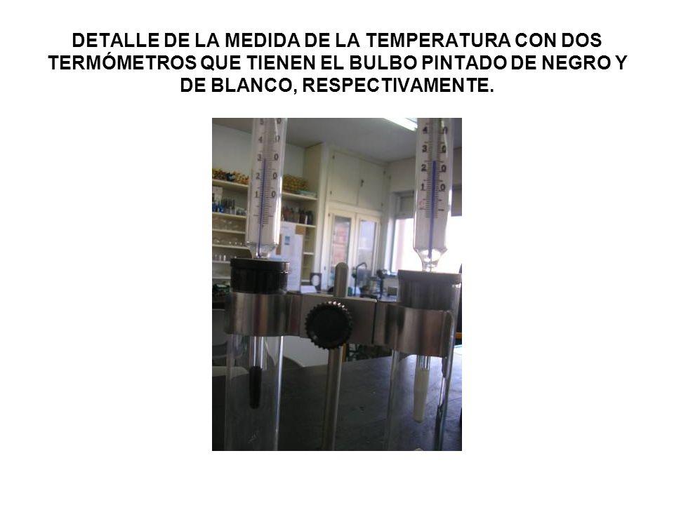 DETALLE DE LA MEDIDA DE LA TEMPERATURA CON DOS TERMÓMETROS QUE TIENEN EL BULBO PINTADO DE NEGRO Y DE BLANCO, RESPECTIVAMENTE.