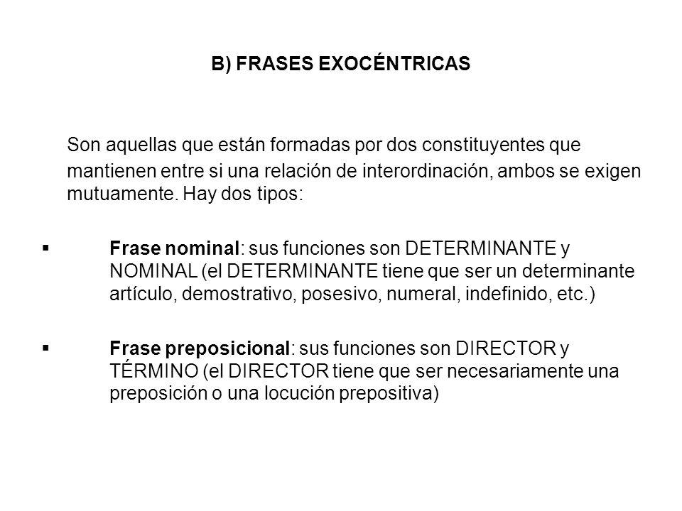B) FRASES EXOCÉNTRICAS Son aquellas que están formadas por dos constituyentes que mantienen entre si una relación de interordinación, ambos se exigen mutuamente.