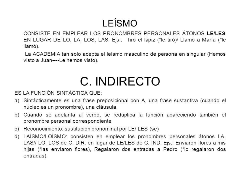 LEÍSMO CONSISTE EN EMPLEAR LOS PRONOMBRES PERSONALES ÁTONOS LE/LES EN LUGAR DE LO, LA, LOS, LAS.