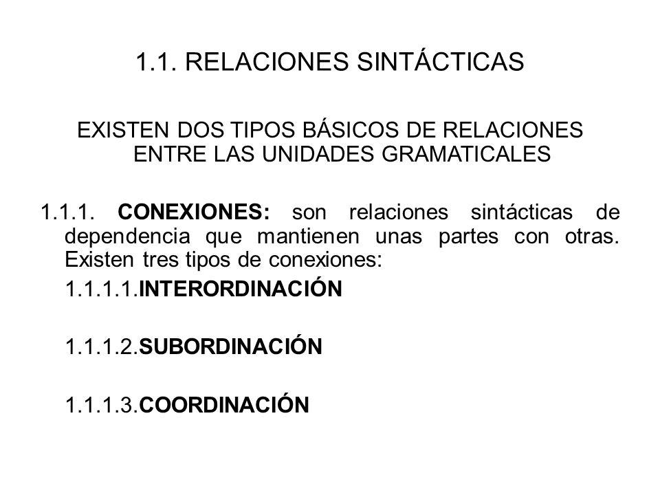 1.1. RELACIONES SINTÁCTICAS EXISTEN DOS TIPOS BÁSICOS DE RELACIONES ENTRE LAS UNIDADES GRAMATICALES 1.1.1. CONEXIONES: son relaciones sintácticas de d