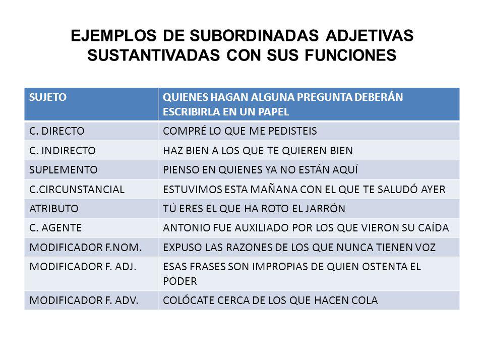 EJEMPLOS DE SUBORDINADAS ADJETIVAS SUSTANTIVADAS CON SUS FUNCIONES SUJETOQUIENES HAGAN ALGUNA PREGUNTA DEBERÁN ESCRIBIRLA EN UN PAPEL C.