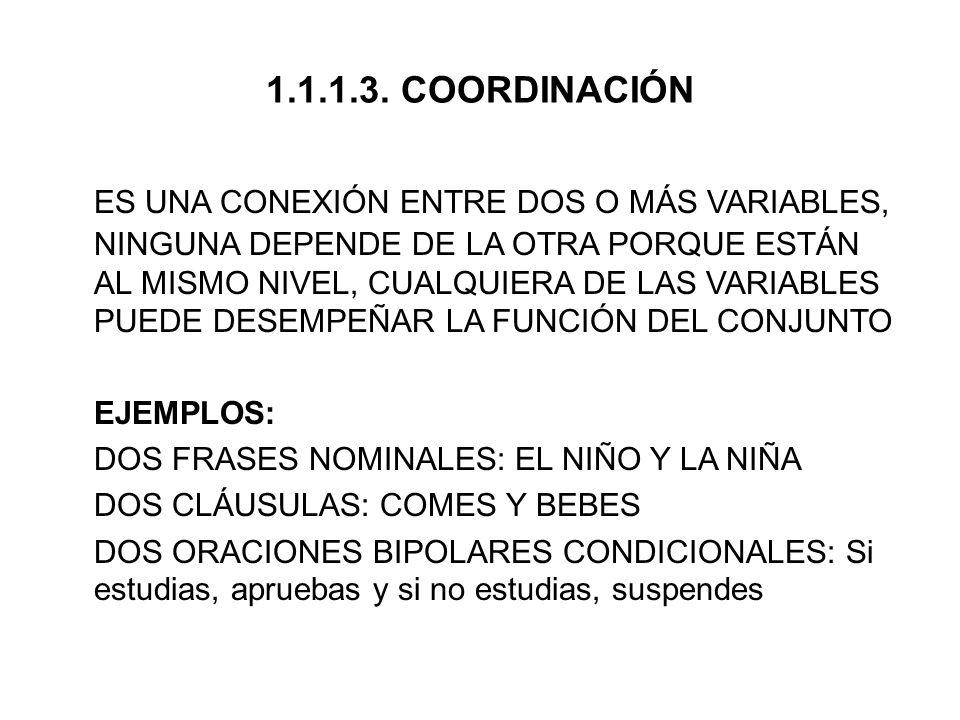 1.1.1.3.1.TIPOS DE COORDINACIÓN (SEGÚN EL NEXO) 1.1.1.3.1.1.