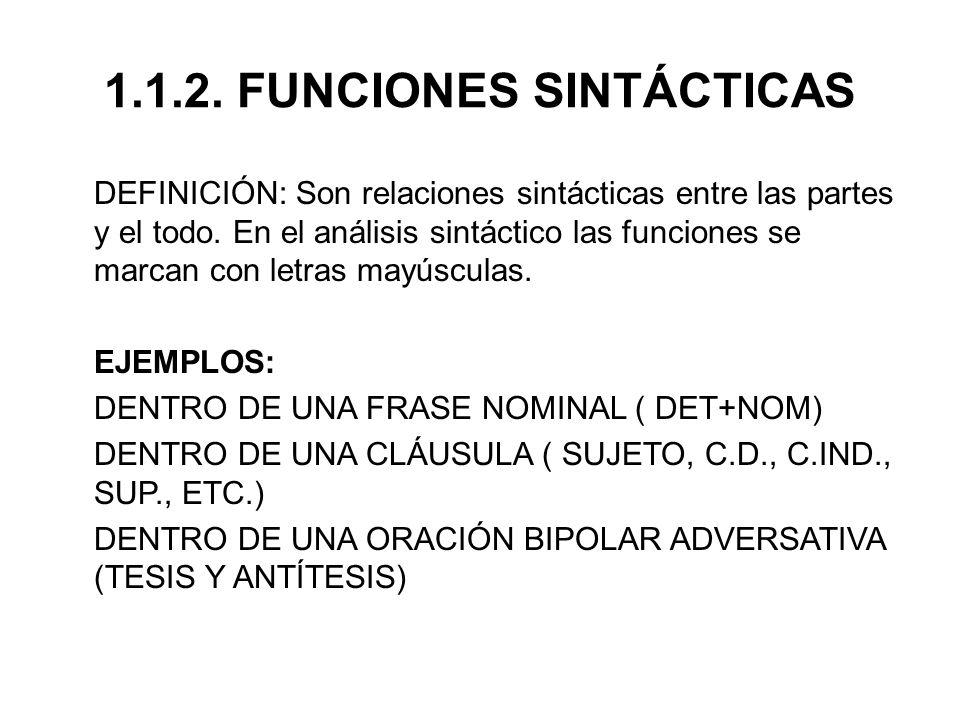 1.1.2.FUNCIONES SINTÁCTICAS DEFINICIÓN: Son relaciones sintácticas entre las partes y el todo.