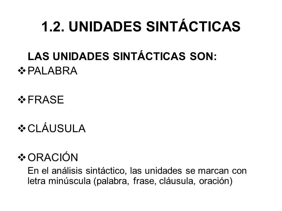 1.2. UNIDADES SINTÁCTICAS LAS UNIDADES SINTÁCTICAS SON: PALABRA FRASE CLÁUSULA ORACIÓN En el análisis sintáctico, las unidades se marcan con letra min