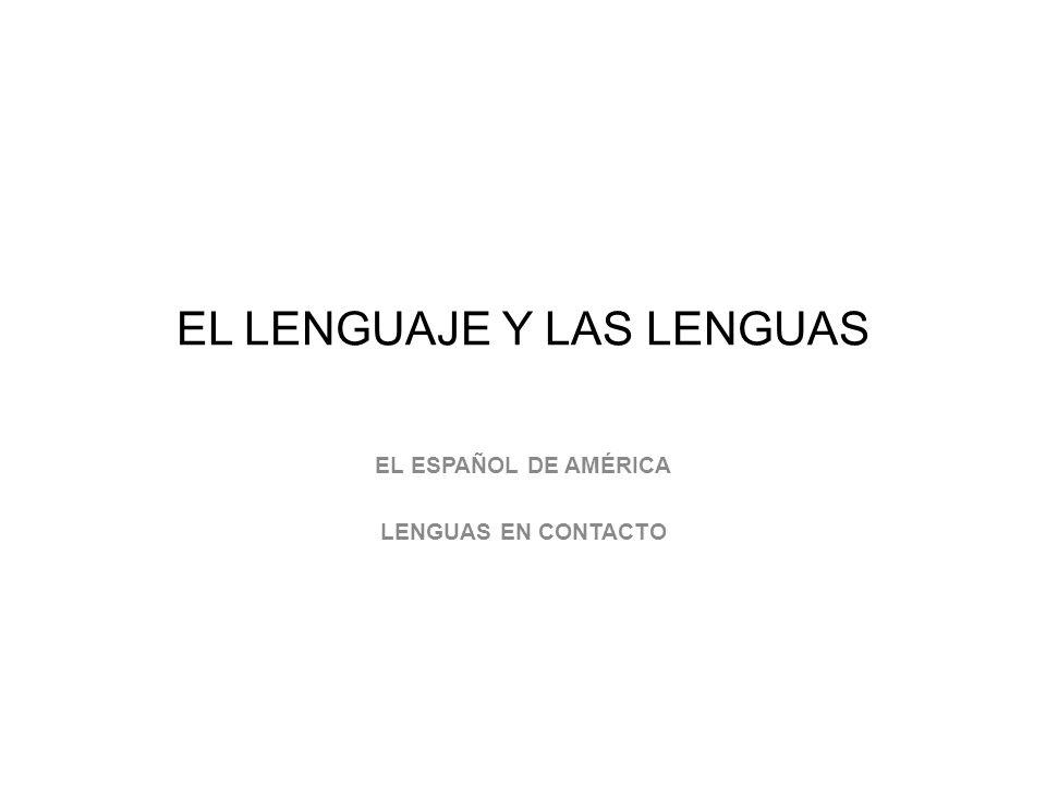 EL LENGUAJE Y LAS LENGUAS EL ESPAÑOL DE AMÉRICA LENGUAS EN CONTACTO