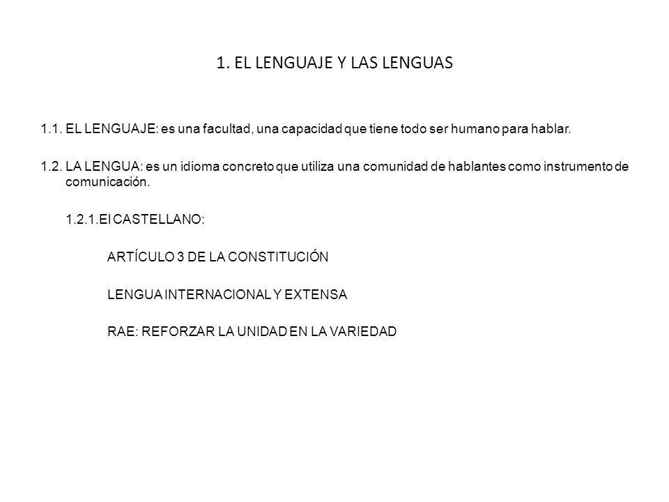 1.EL LENGUAJE Y LAS LENGUAS 1.1.