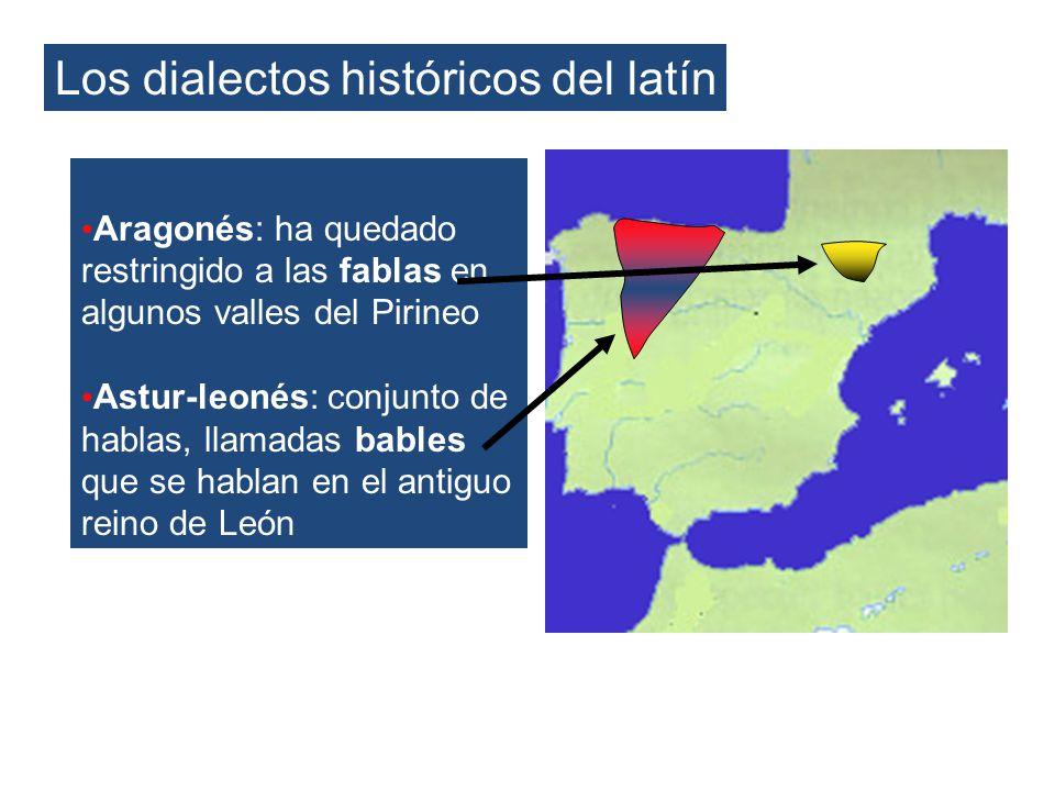 Los dialectos históricos del latín Aragonés: ha quedado restringido a las fablas en algunos valles del Pirineo Astur-leonés: conjunto de hablas, llama