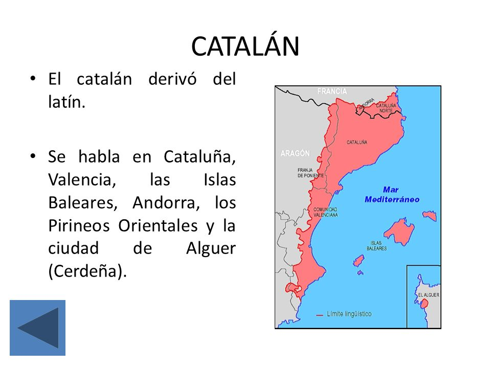 El catalán derivó del latín. Se habla en Cataluña, Valencia, las Islas Baleares, Andorra, los Pirineos Orientales y la ciudad de Alguer (Cerdeña).