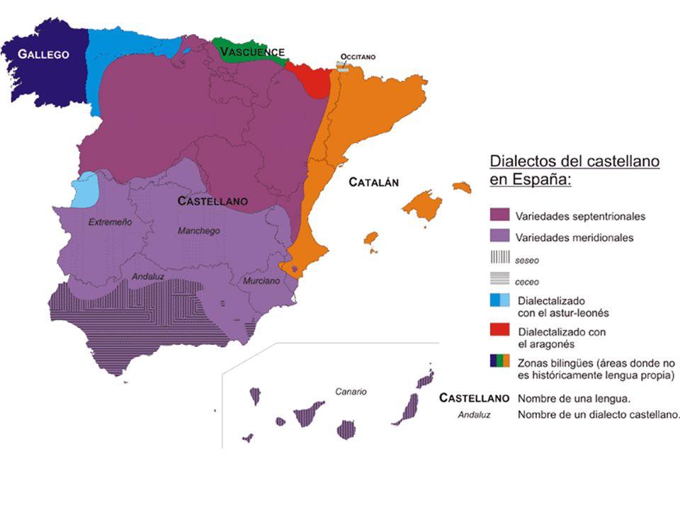 Los dialectos que se hablan en España Históricos o dialectos del latín: – El astur-leonés (bable) – El navarro-aragonés (fablas) Del castellano: – El andaluz – El canario – El murciano – El extremeño – El español de América