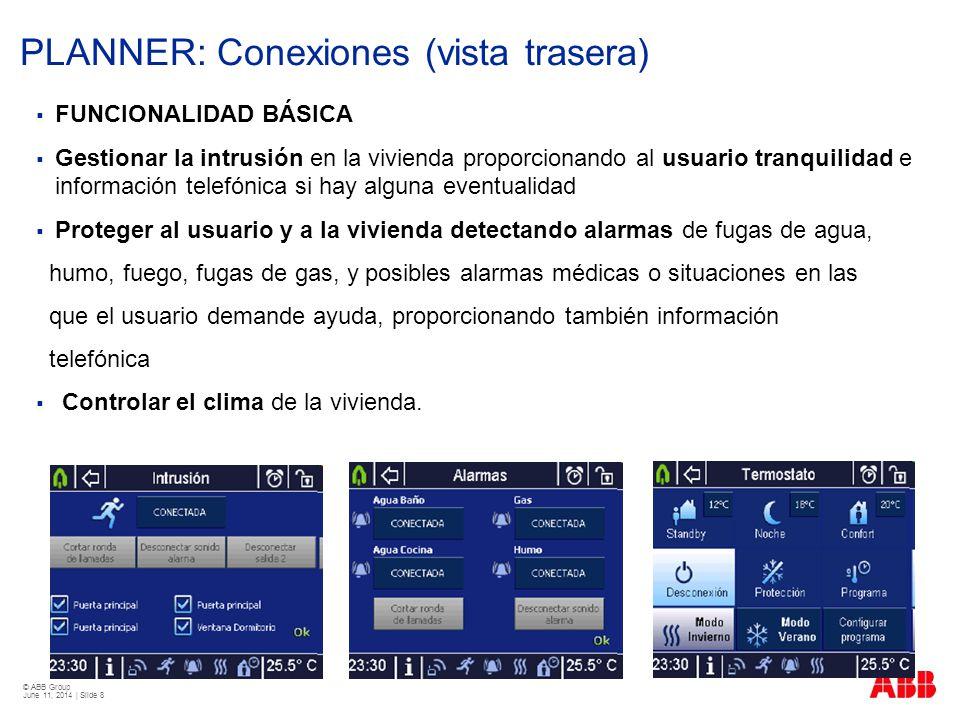 © ABB Group June 11, 2014 | Slide 8 PLANNER: Conexiones (vista trasera) FUNCIONALIDAD BÁSICA Gestionar la intrusión en la vivienda proporcionando al u