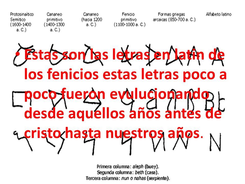 Estas son las letras en latin de los fenicios estas letras poco a poco fueron evulucionando desde aquellos años antes de cristo hasta nuestros años.