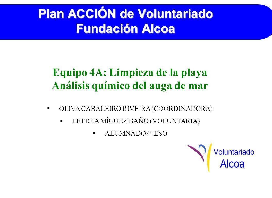 Plan ACCIÓN de Voluntariado Fundación Alcoa Equipo 4A: Limpieza de la playa Análisis químico del auga de mar OLIVA CABALEIRO RIVEIRA (COORDINADORA) LETICIA MÍGUEZ BAÑO (VOLUNTARIA) ALUMNADO 4º ESO