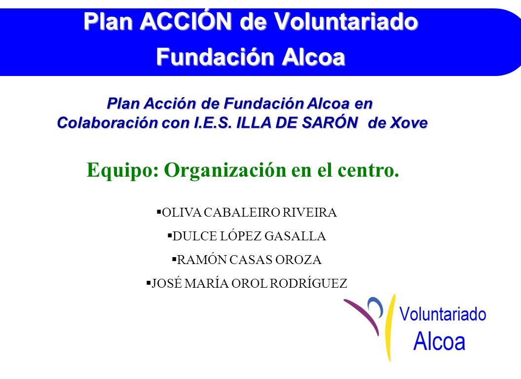 Plan ACCIÓN de Voluntariado Fundación Alcoa Equipo: Organización en el centro.