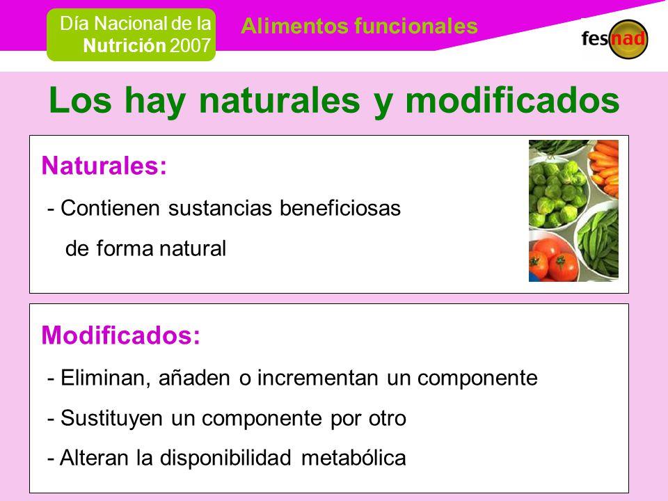 Alimentos funcionales Día Nacional de la Nutrición 2007 Los hay naturales y modificados Modificados: - Eliminan, añaden o incrementan un componente - Sustituyen un componente por otro - Alteran la disponibilidad metabólica Naturales: - Contienen sustancias beneficiosas de forma natural