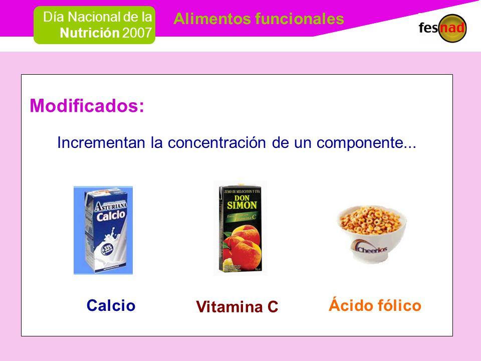 Alimentos funcionales Día Nacional de la Nutrición 2007 Modificados: Incrementan la concentración de un componente...