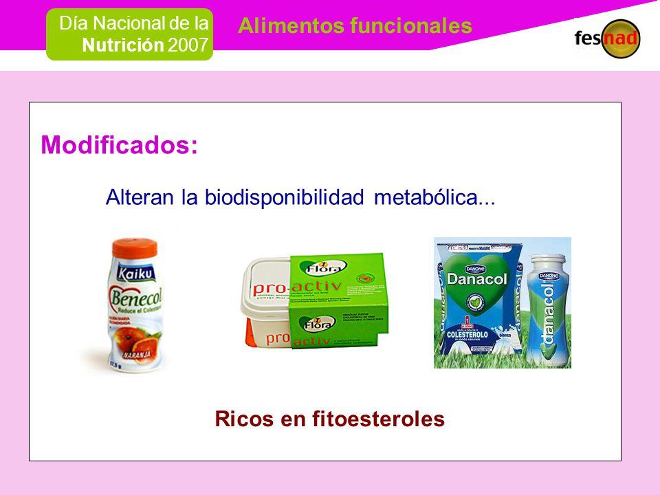 Alimentos funcionales Día Nacional de la Nutrición 2007 Modificados: Alteran la biodisponibilidad metabólica...