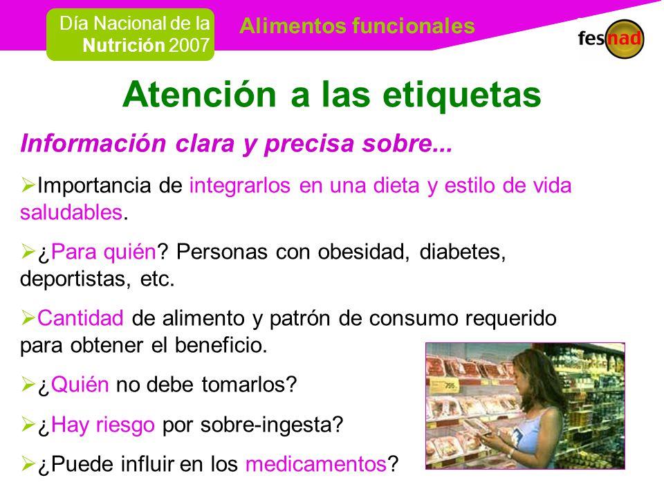 Alimentos funcionales Día Nacional de la Nutrición 2007 Atención a las etiquetas Información clara y precisa sobre...