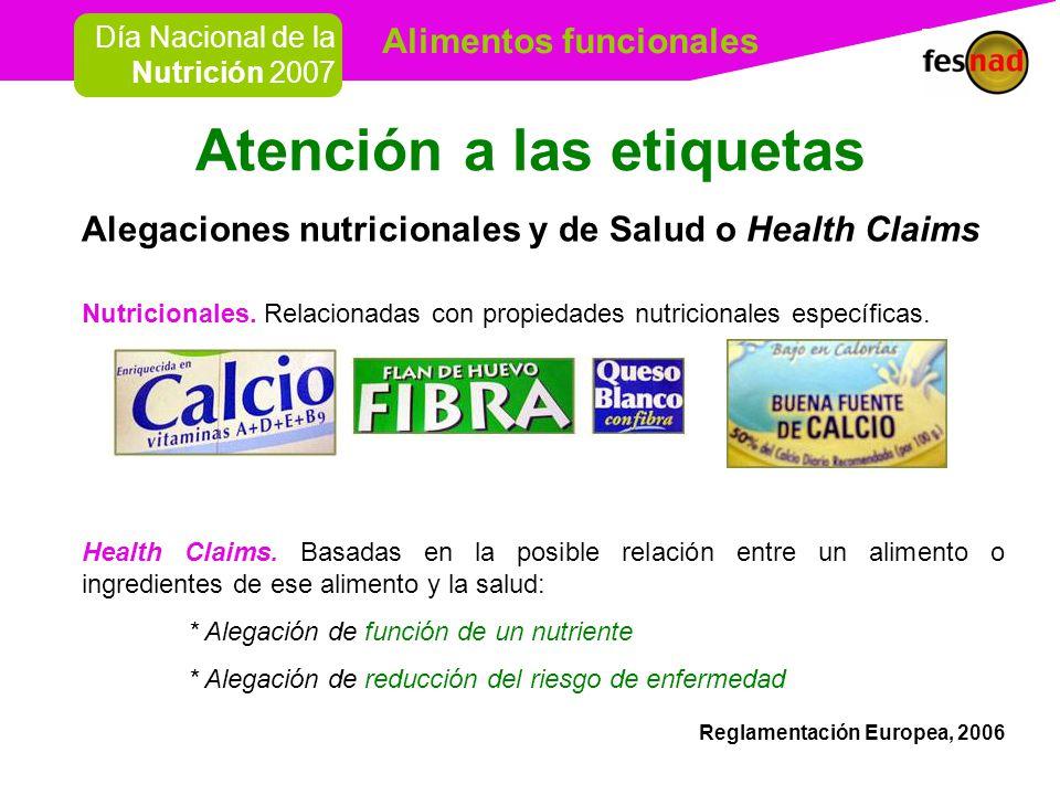 Alimentos funcionales Día Nacional de la Nutrición 2007 Atención a las etiquetas Alegaciones nutricionales y de Salud o Health Claims Nutricionales.
